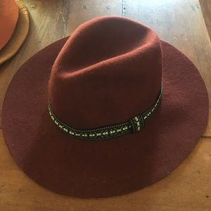 Maroon wide brim fedora with tapestry trim